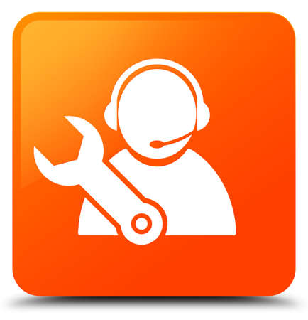 Tech support icon isolated on orange square button abstract illustration