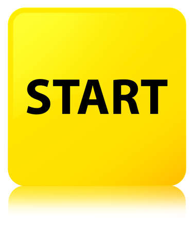 start button: Start isolated on yellow square button reflected abstract illustration