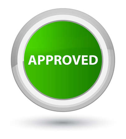 Approved isolated on prime green round button abstract illustration