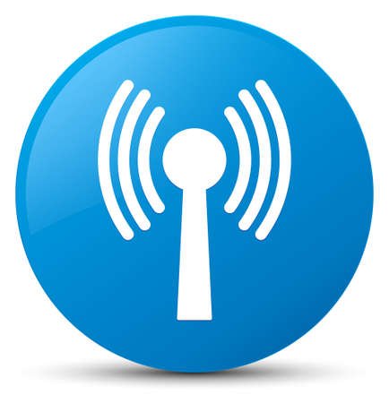 Wlan network icon isolated on cyan blue round button abstract illustration Stock Photo