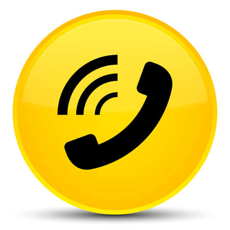 Phone ringing icon isolated on special yellow round button abstract illustration