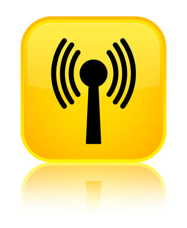 Wlan network icon isolated on special yellow square button reflected abstract illustration