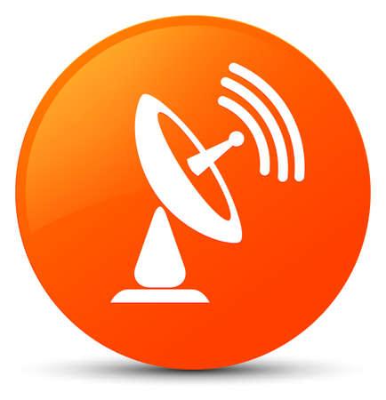Satellite dish icon isolated on orange round button abstract illustration