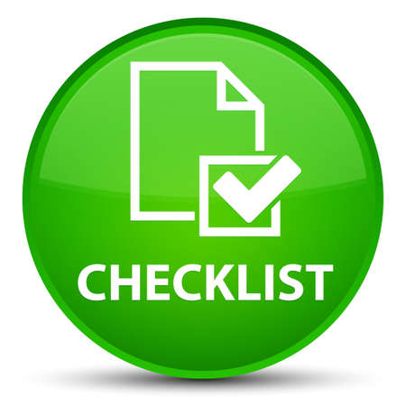 Checklist isolated on special green round button abstract illustration Stock Photo