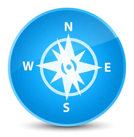 Compass icon isolated on elegant cyan blue round button abstract illustration Stock Photo