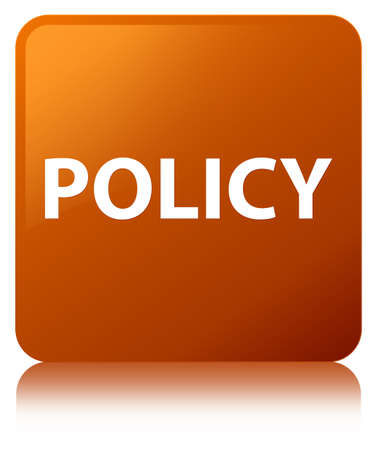 Policy isolated on brown square button reflected abstract illustration