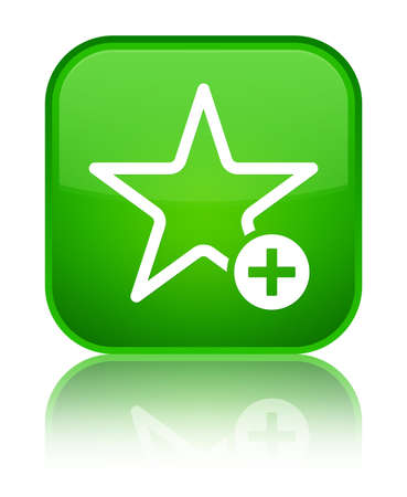 Add to favorite icon isolated on special green square button reflected abstract illustration Stock Photo