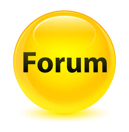 Forum isolated on glassy yellow round button abstract illustration Stock Photo
