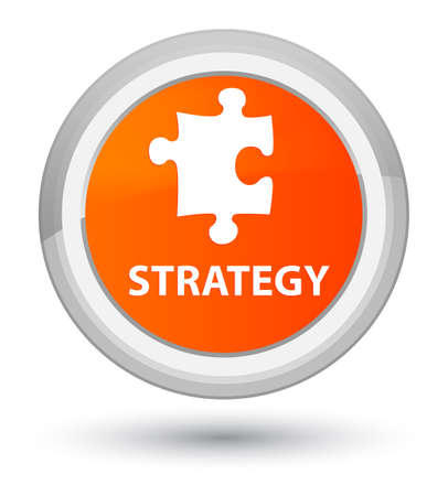 Strategy (puzzle icon) isolated on prime orange round button abstract illustration Stock Photo