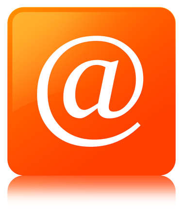 Email address icon isolated on orange square button reflected abstract illustration Stock Photo