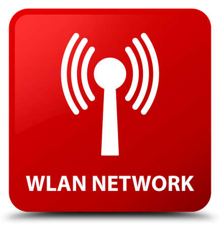 Wlan network isolated on red square button abstract illustration
