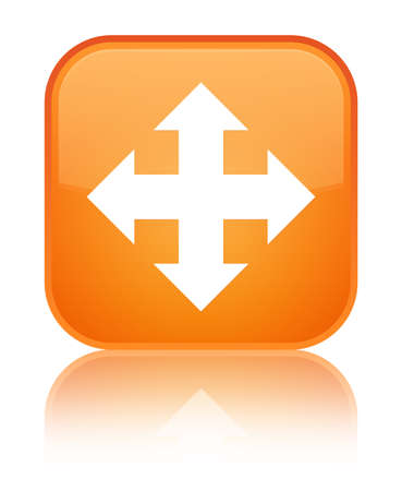 Move icon isolated on special orange square button reflected abstract illustration Stock Photo