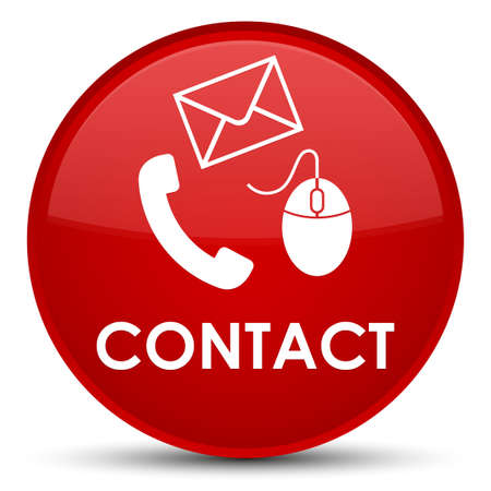 Contact (phone email and mouse icon) red isolated on special round button abstract illustration Stock Photo
