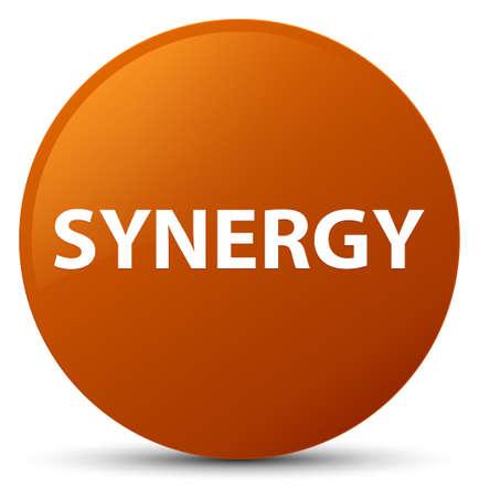 Synergie op bruine ronde knoop abstracte illustratie die wordt geïsoleerd Stockfoto