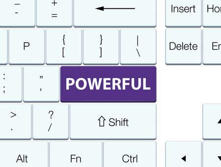 Powerful isolated on purple keyboard button abstract illustration Stock Photo
