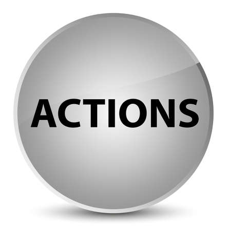 Actions isolated on elegant white round button abstract illustration