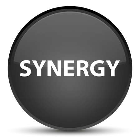 Synergie op speciale zwarte ronde knoop abstracte illustratie die wordt geïsoleerd Stockfoto