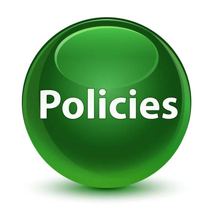 Policies isolated on glassy soft green round button abstract illustration Stok Fotoğraf