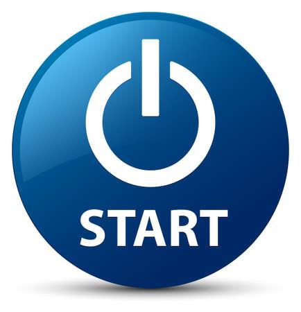 start button: Start (power icon) isolated on blue round button abstract illustration