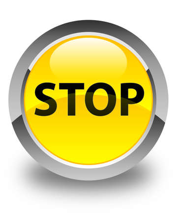 Stop isolated on glossy yellow round button abstract illustration