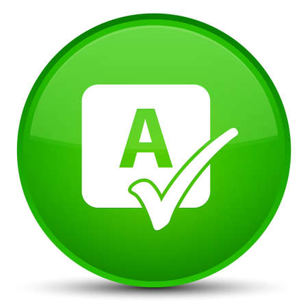 Spell check icon isolated on special green round button abstract illustration Stock Photo