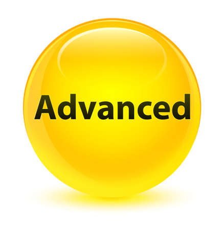 Advanced isolated on glassy yellow round button abstract illustration Stock Photo