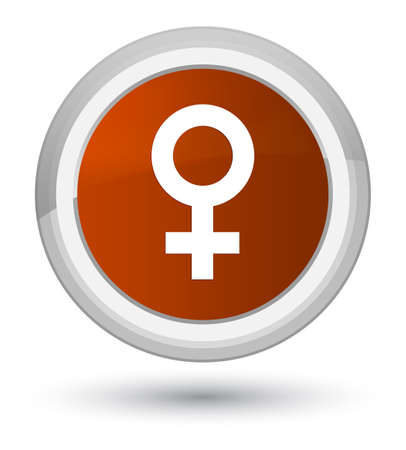 Female sign icon isolated on prime brown round button abstract illustration
