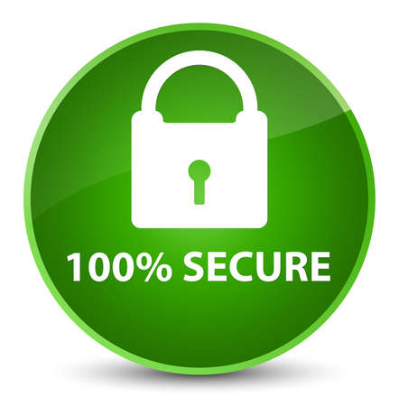 100% secure isolated on elegant green round button abstract illustration Stock Photo