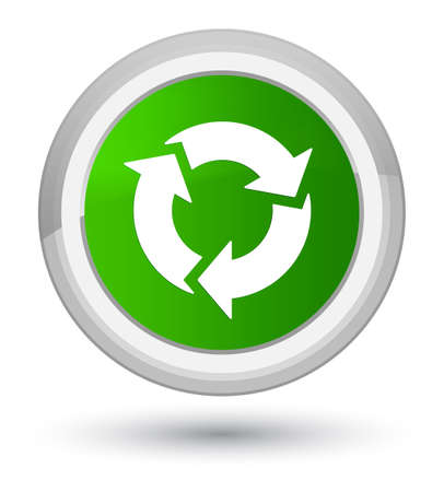 Refresh icon isolated on prime green round button abstract illustration Stock Photo