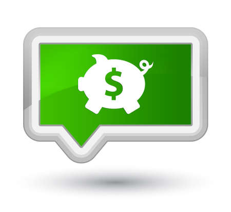 Piggy bank dollar sign icon isolated on prime green banner button abstract illustration