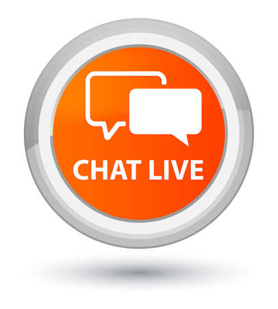 Chat live isolated on prime orange round button abstract illustration Stock Photo