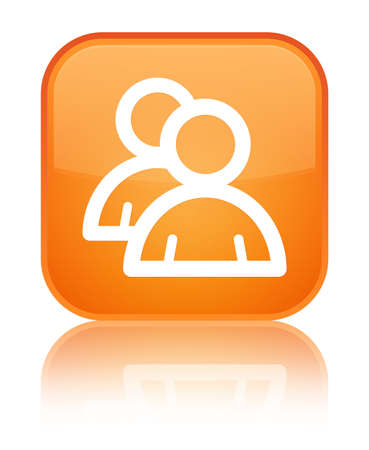 Group icon isolated on special orange square button reflected abstract illustration Stock Photo