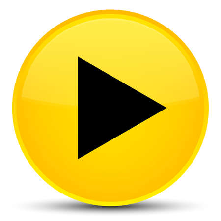 Play icon isolated on special yellow round button abstract illustration Stock Photo