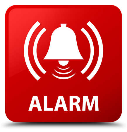 Alarm (bell icon) isolated on red square button abstract illustration