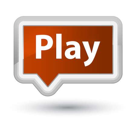 プライムブラウンのバナーボタンの抽象的なイラストに分離プレイ