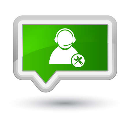 Tech support icon isolated on prime green banner button abstract illustration