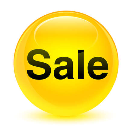 Sale isolated on glassy yellow round button abstract illustration
