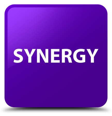 Synergie op purpere vierkante knoop abstracte illustratie die wordt geïsoleerd
