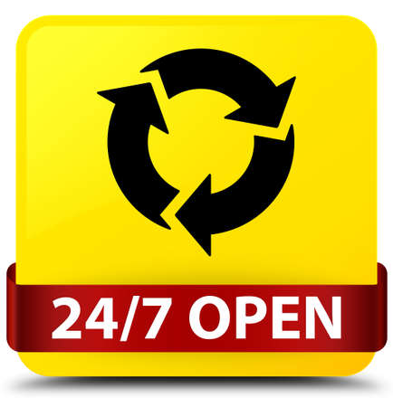247 open isolated on yellow square button with red ribbon in middle abstract illustration
