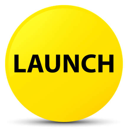 Launch isolated on yellow round button abstract illustration Stock Photo
