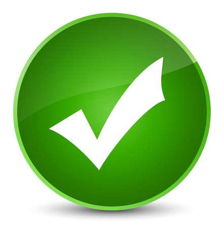 Icône de validation isolé sur l'illustration abstraite du bouton rond vert élégant