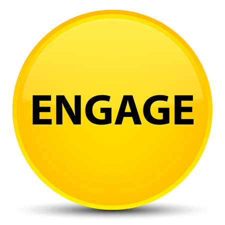 Engage isolated on special yellow round button abstract illustration Imagens