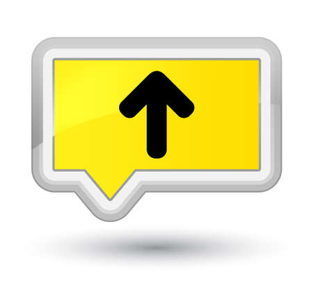 Upload arrow icon isolated on prime yellow banner button abstract illustration Stock Photo