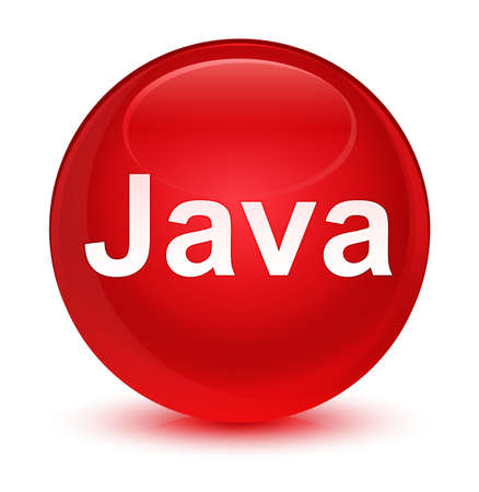 ガラス状の赤い丸いボタンの抽象的なイラストに分離された Java 写真素材