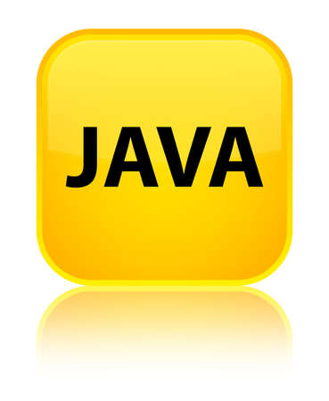 Java isolated on special yellow square button reflected abstract illustration