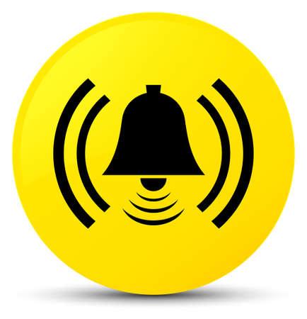 Alarm icon isolated on yellow round button abstract illustration Stock Photo