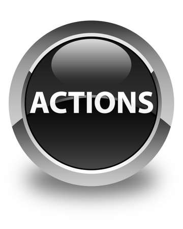 Actions isolated on glossy black round button abstract illustration