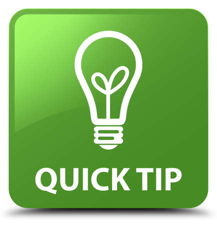 Quick tip (bulb icon) isolated on soft green square button abstract illustration Stock fotó