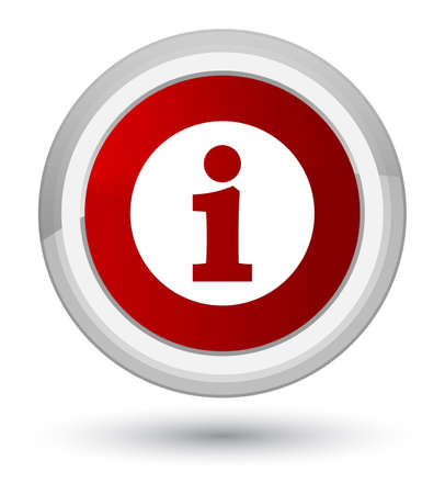 Info icon isolated on prime red round button abstract illustration