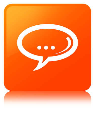 Chat icon isolated on orange square button reflected abstract illustration